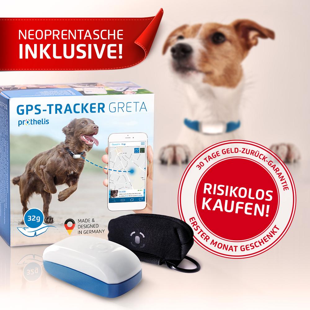 GRETA - GPS-Tracker für Hunde + Neoprentasche