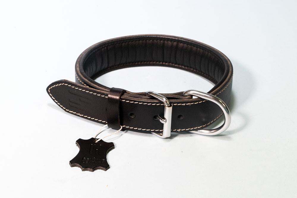 Hundehalsband Classic Leder mit Neopren